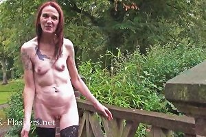 Skinny Granny Exhibitionist Bitez In Public Nudity
